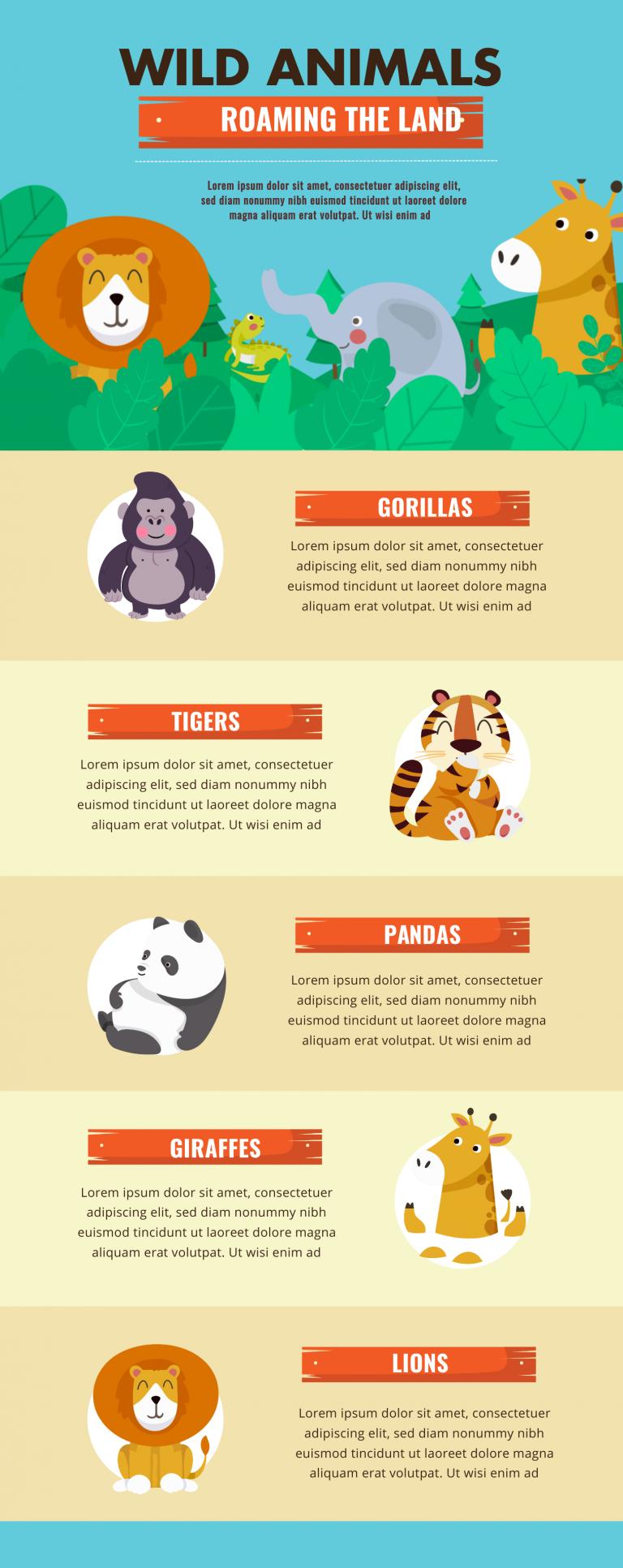 Wild animal infographic