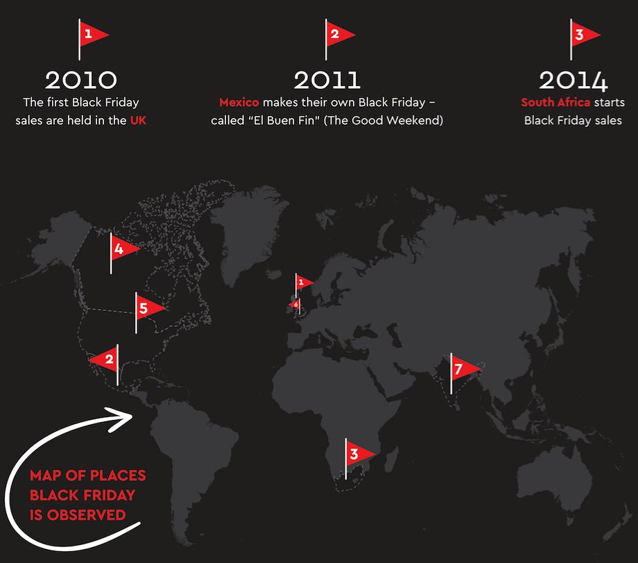 map of places around the world celebrating Black Friday