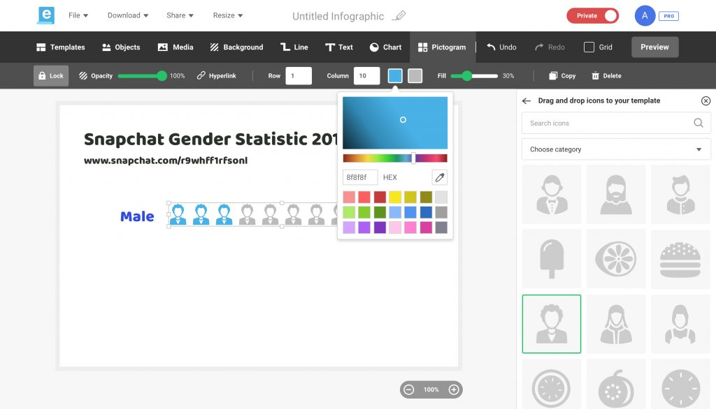 Color Picker Simple Infographic Maker Tool By Easelly