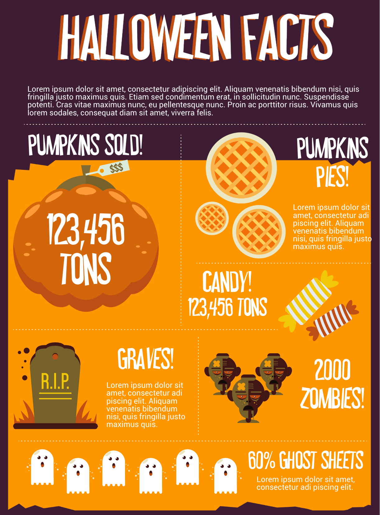Infographic template with pumpkin, grave, and zombie icons