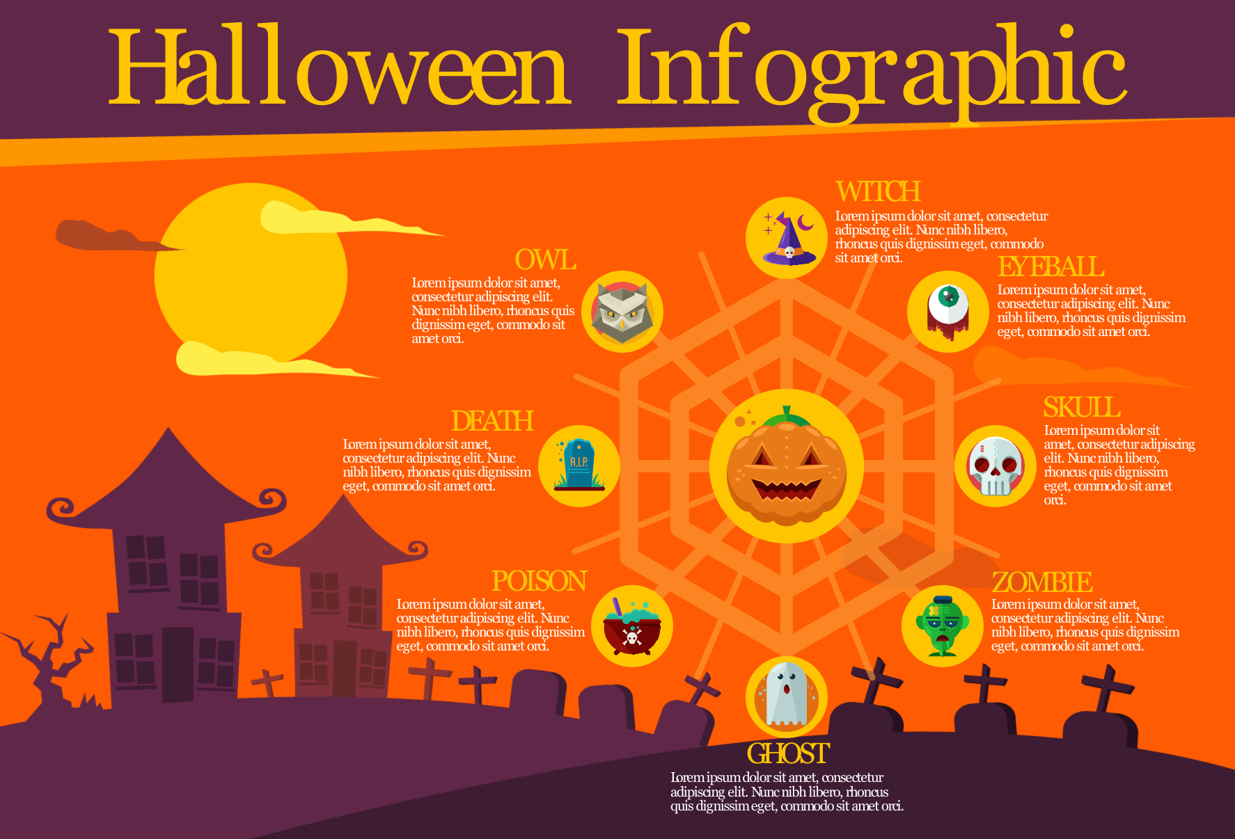 an infographic with graveyard and halloween icons
