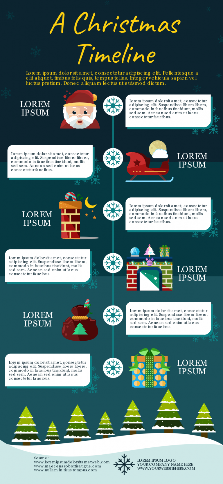 Holiday timeline infographic template