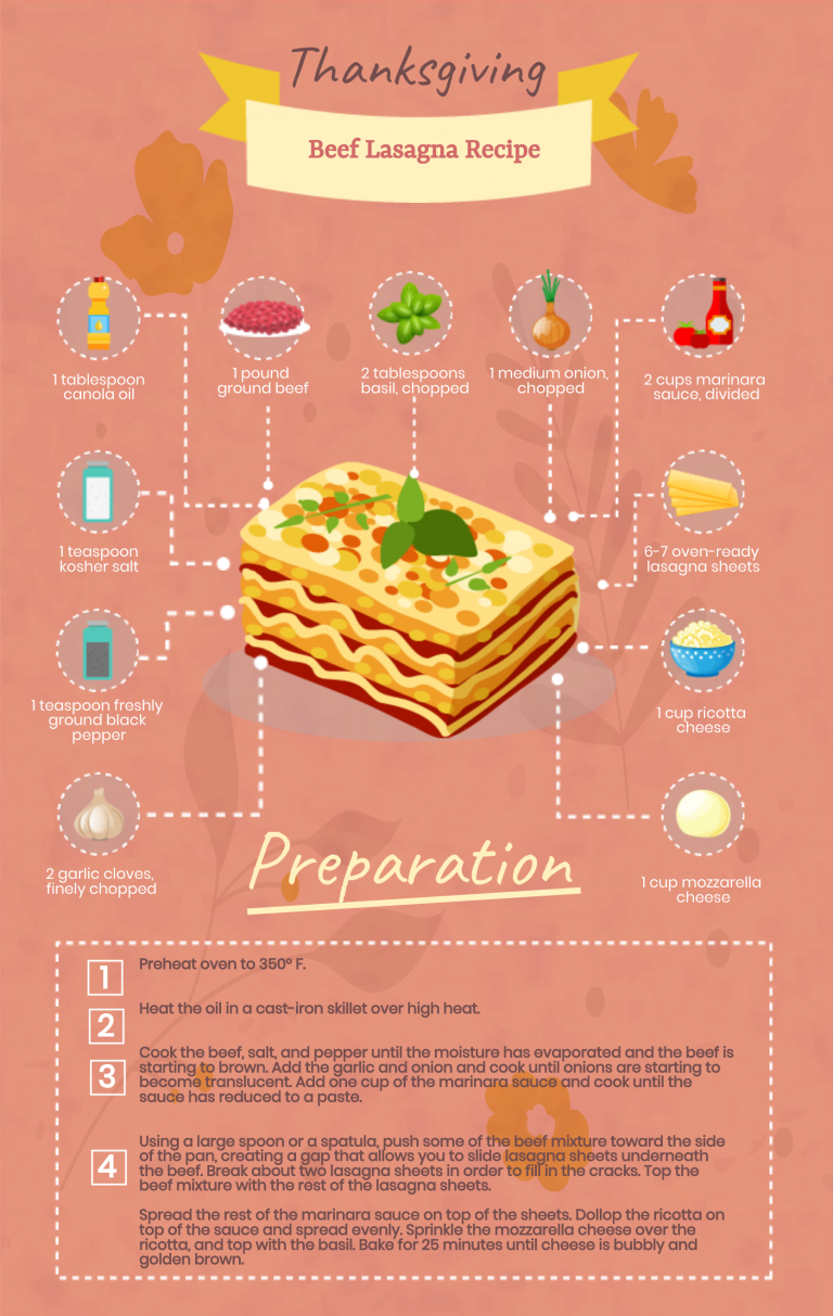 Thanksgiving recipe infographic template