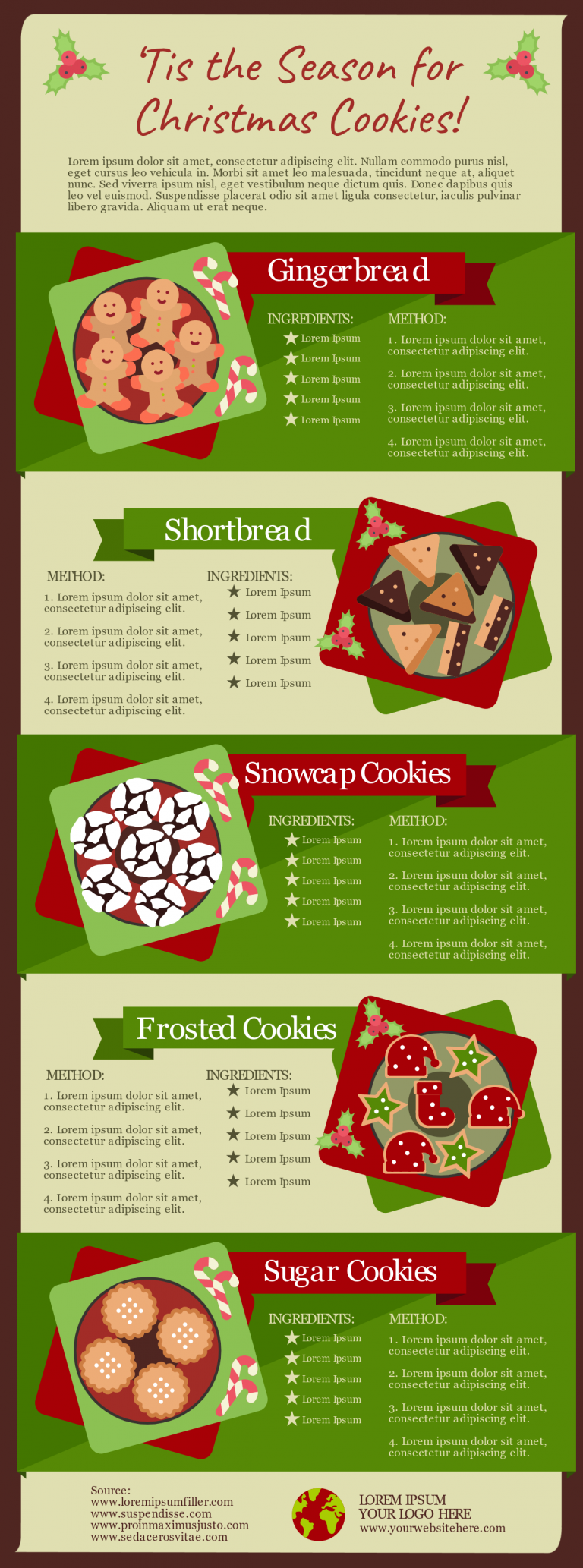 christmas recipe infographic template