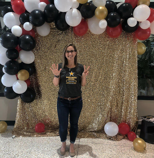 photo of a librarian at a school event