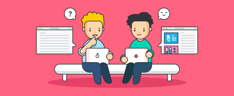 illustration of two coworkers using instang messaging for internal communications
