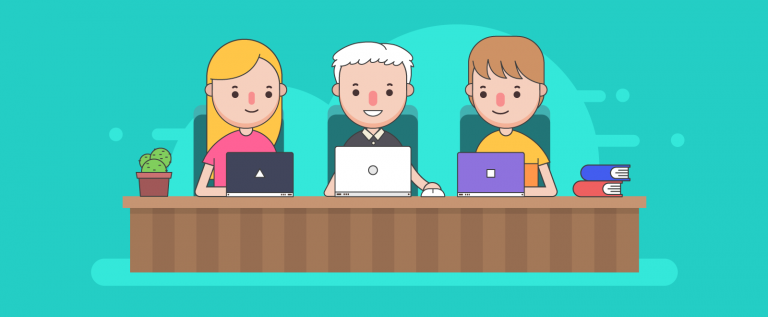 illustration of a team in a videoconference call