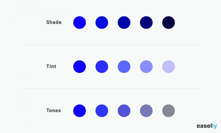 shade, tint, and tones of the color blue