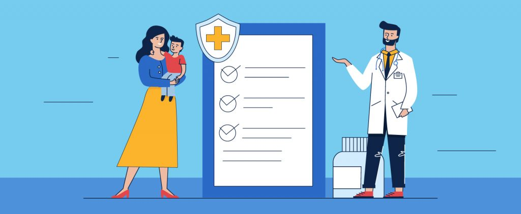illustration of a health care professional using an infographic for patient education