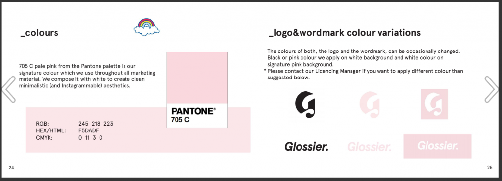 Logo and color variations by Glossier