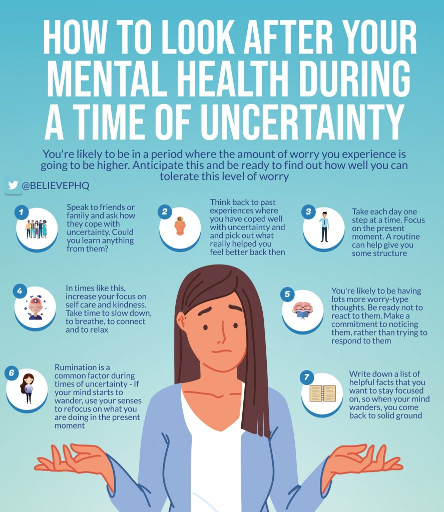 an infographic on how to improve mental health during uncertain times like a pandemic