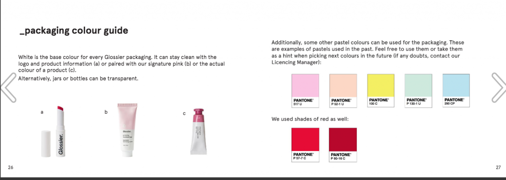 Packaging color guide by Glossier