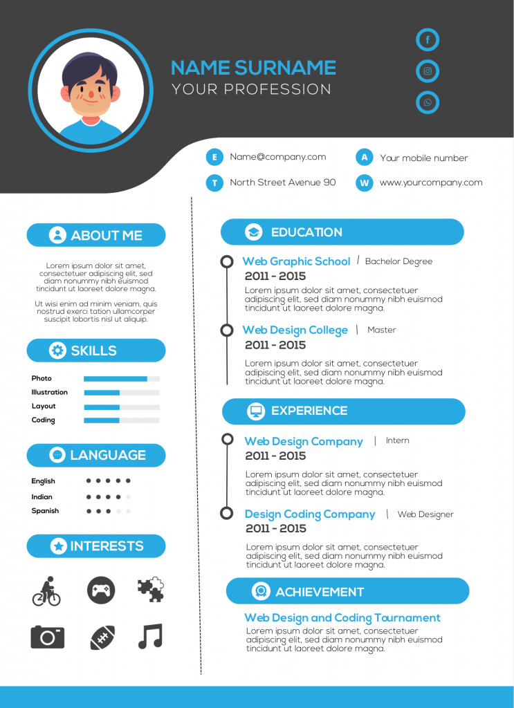 infographic resume template with black and blue colors