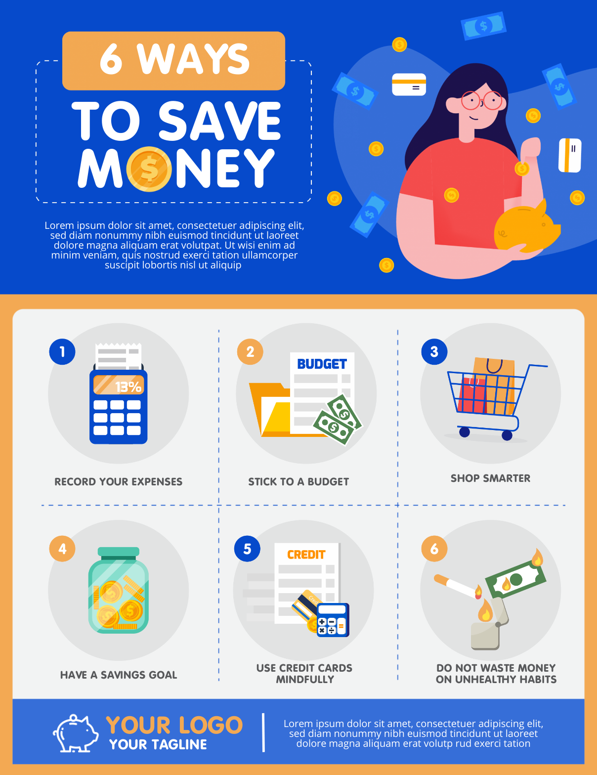 infographic template about ways to save money