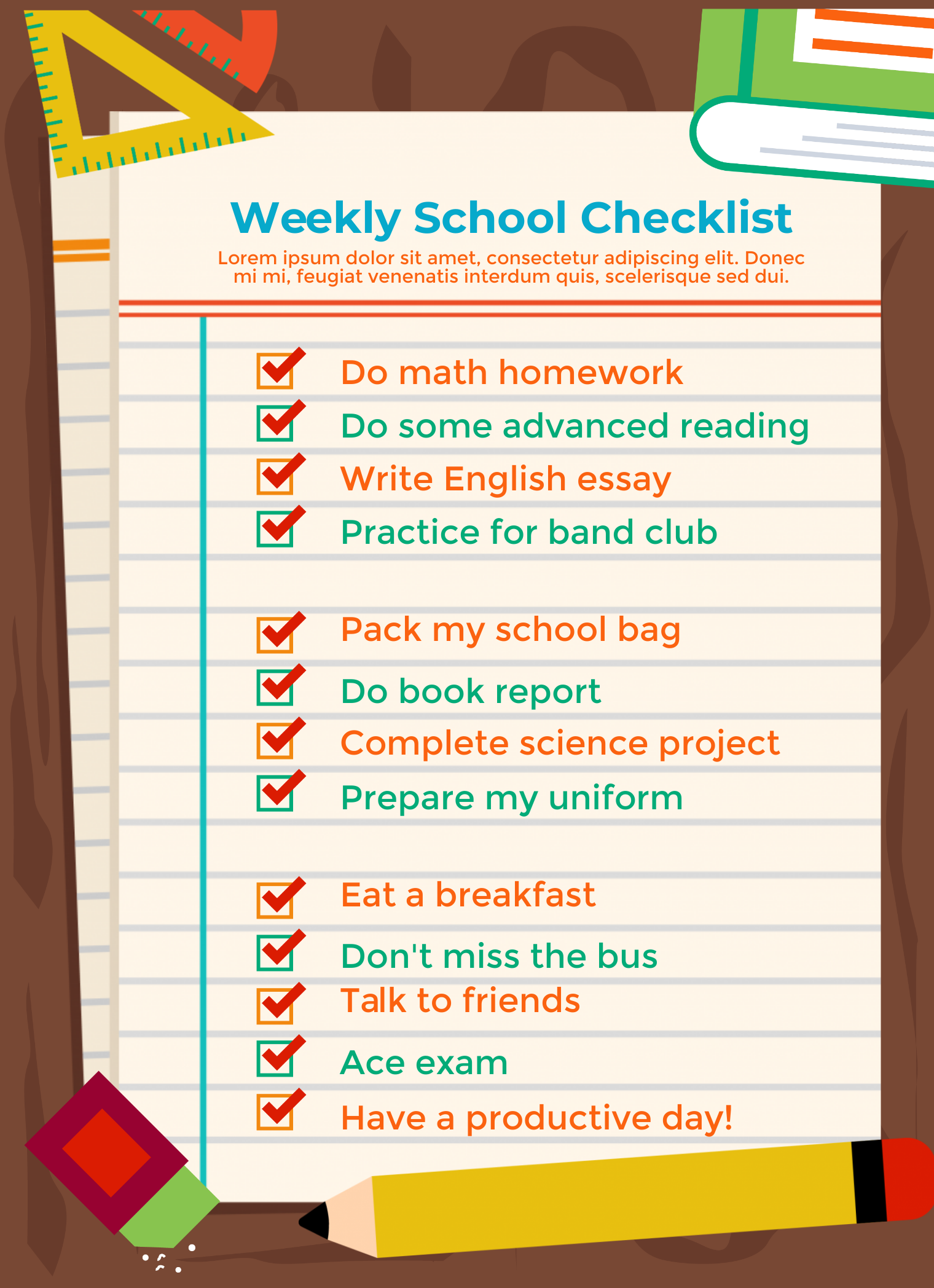 School checklist infographic template