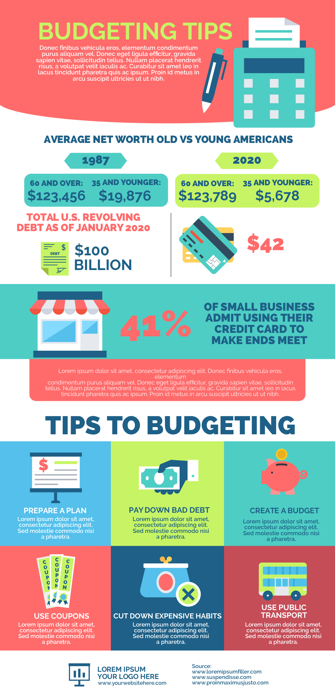 infographic template about budgeting tips