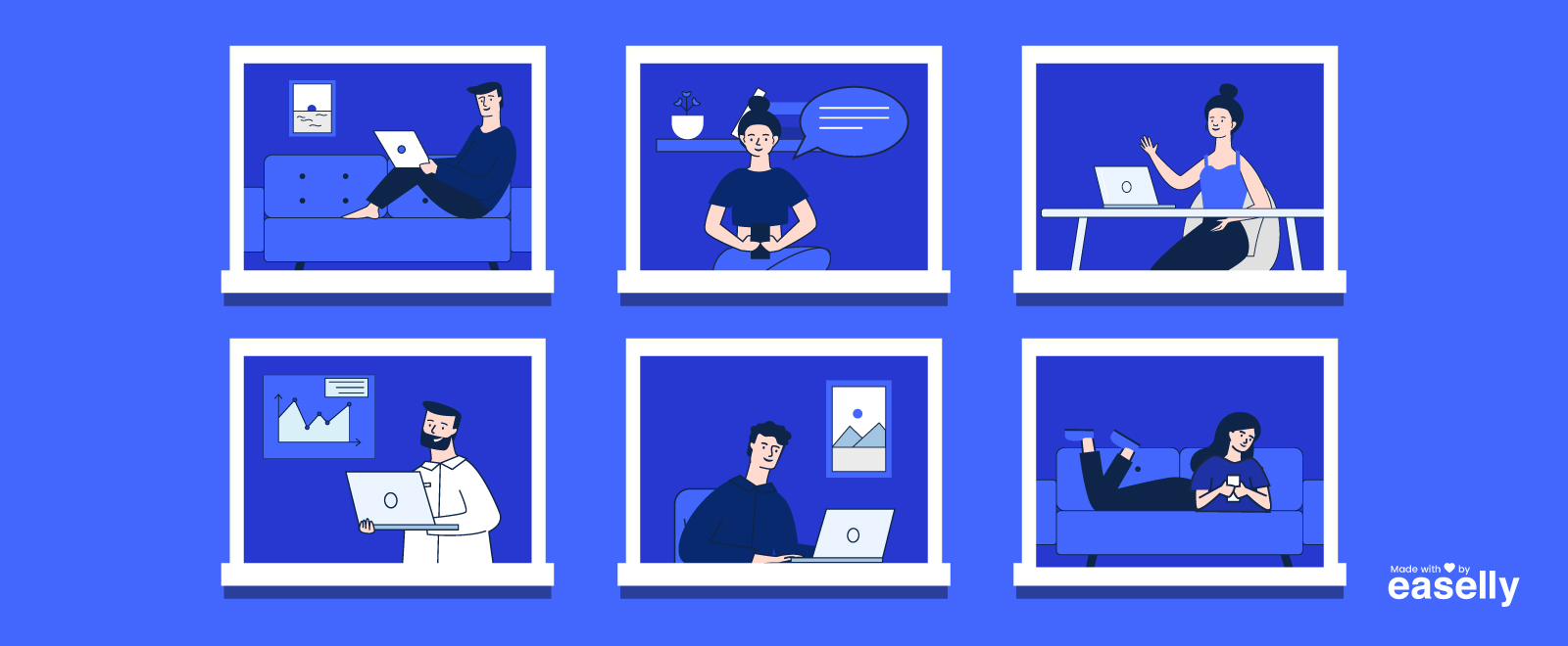 an illustration where entrepreneurs are doing creative marketing