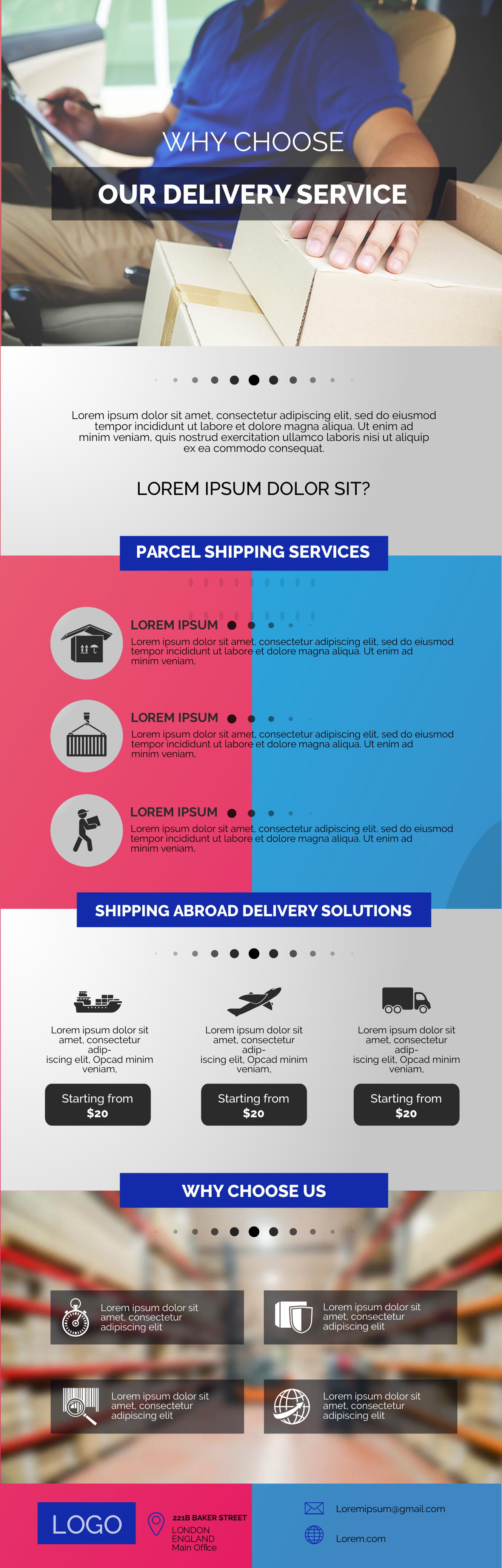 logistics and delivery infographic template