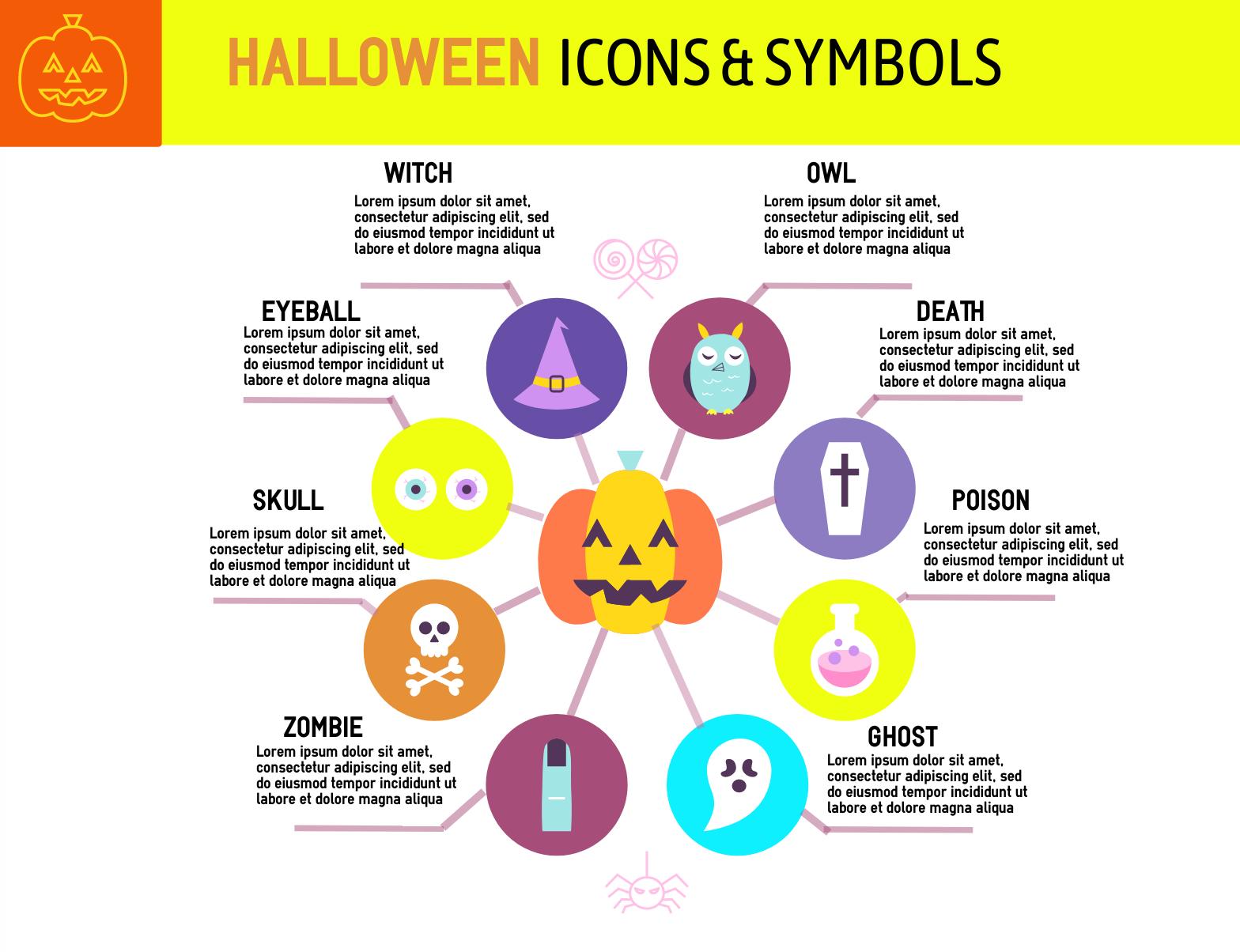 Halloween icons and symbols infographic