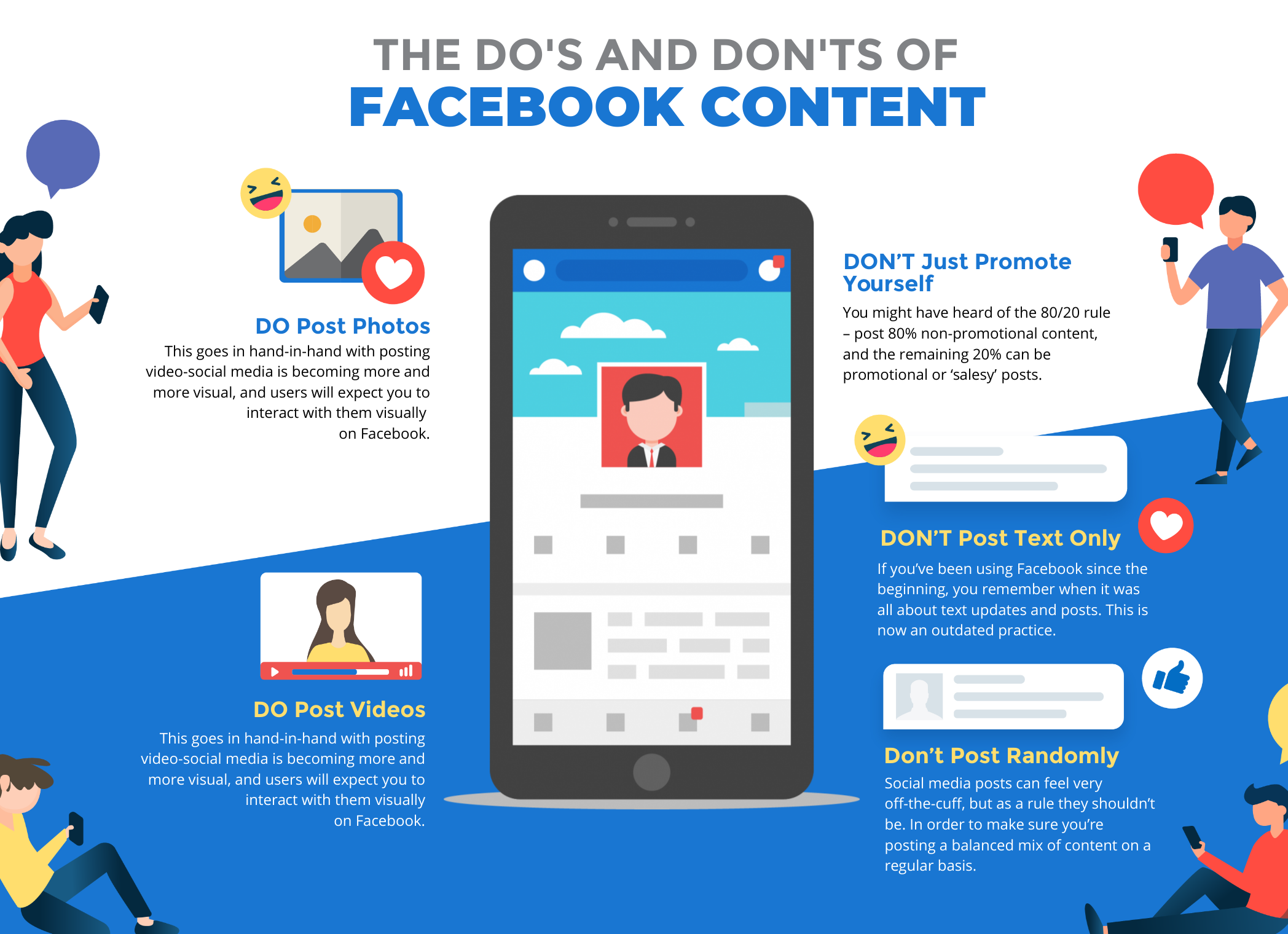 A hoizontal infographic about the do's and don'ts of facebook content