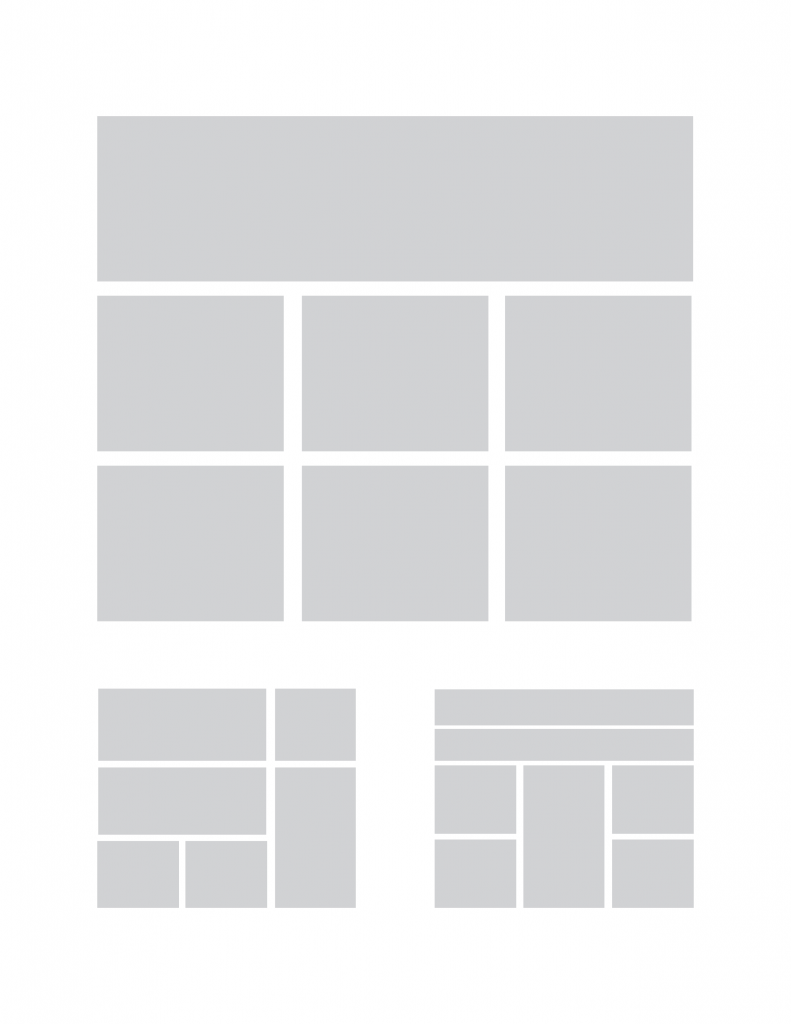 An example of placeholder boxes for infographics