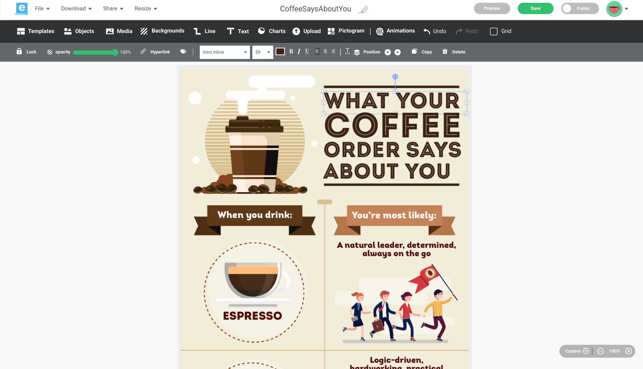 A screenshot of Easelly's infographic maker tool while adjusting the heading size and font style