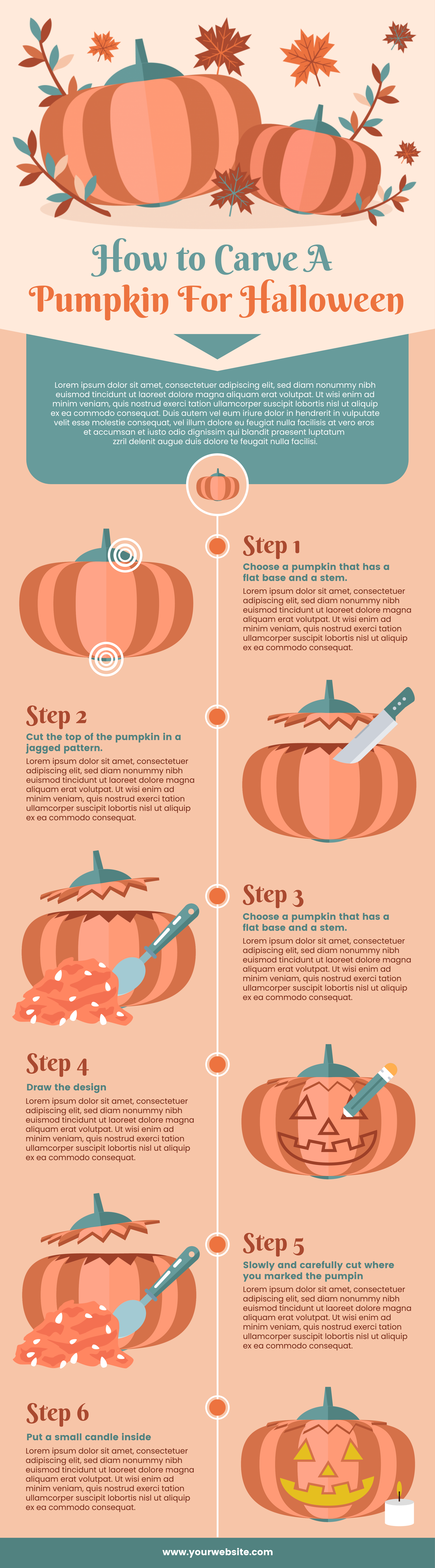 A process infographic on how to carve Halloween pumpkins