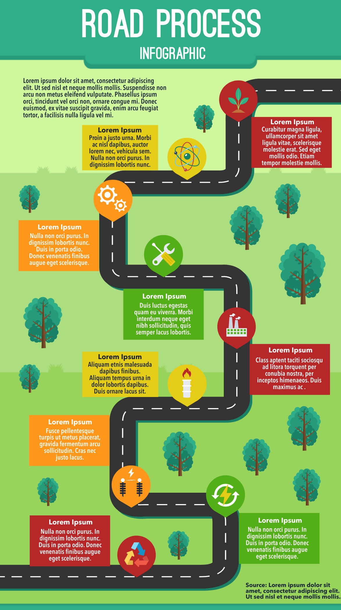 Road process infographic template