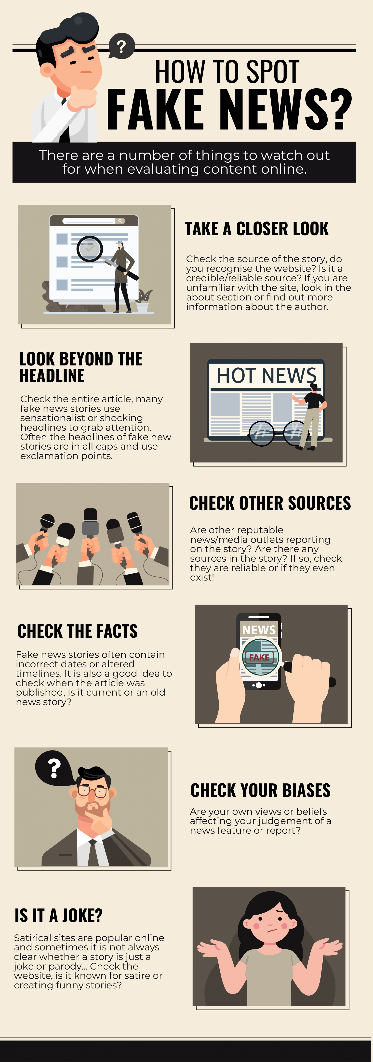 An infographic about how to spot fake news