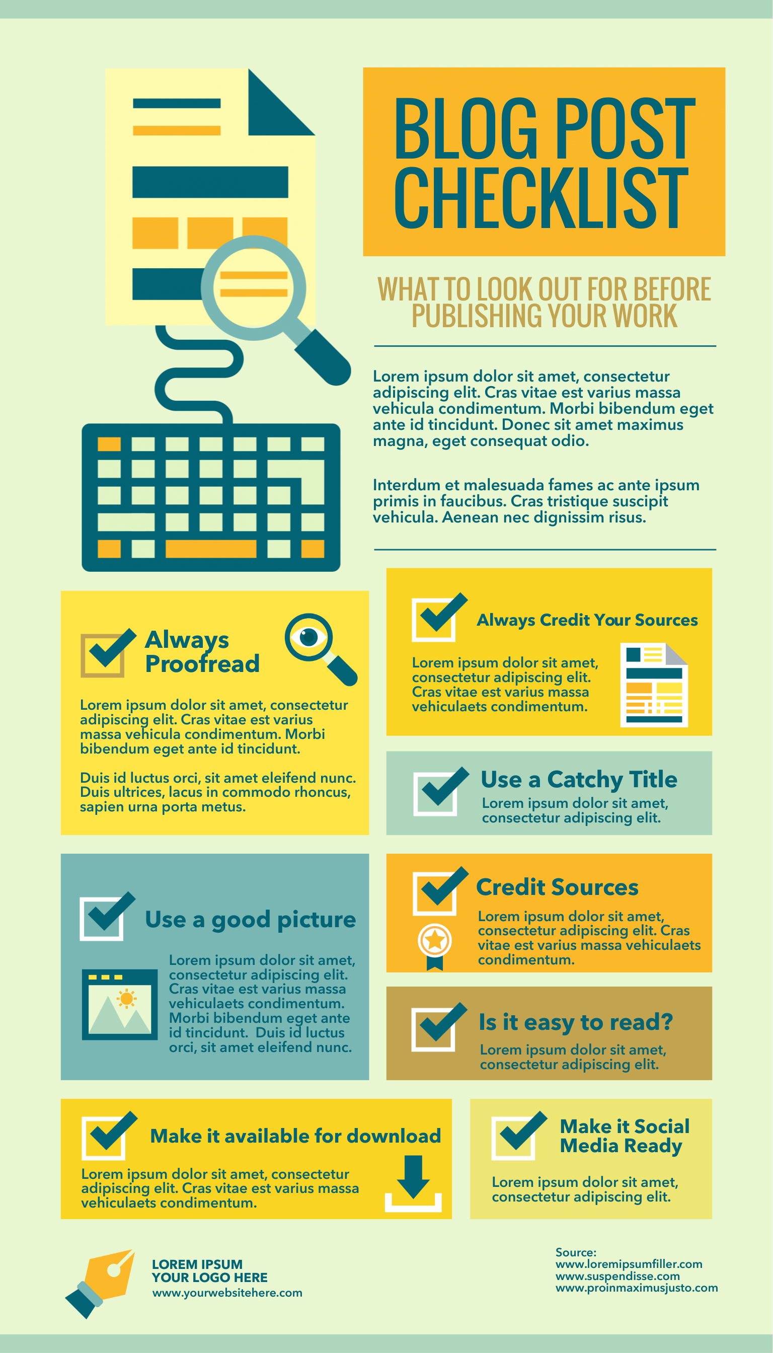 Blog checklist infographic template