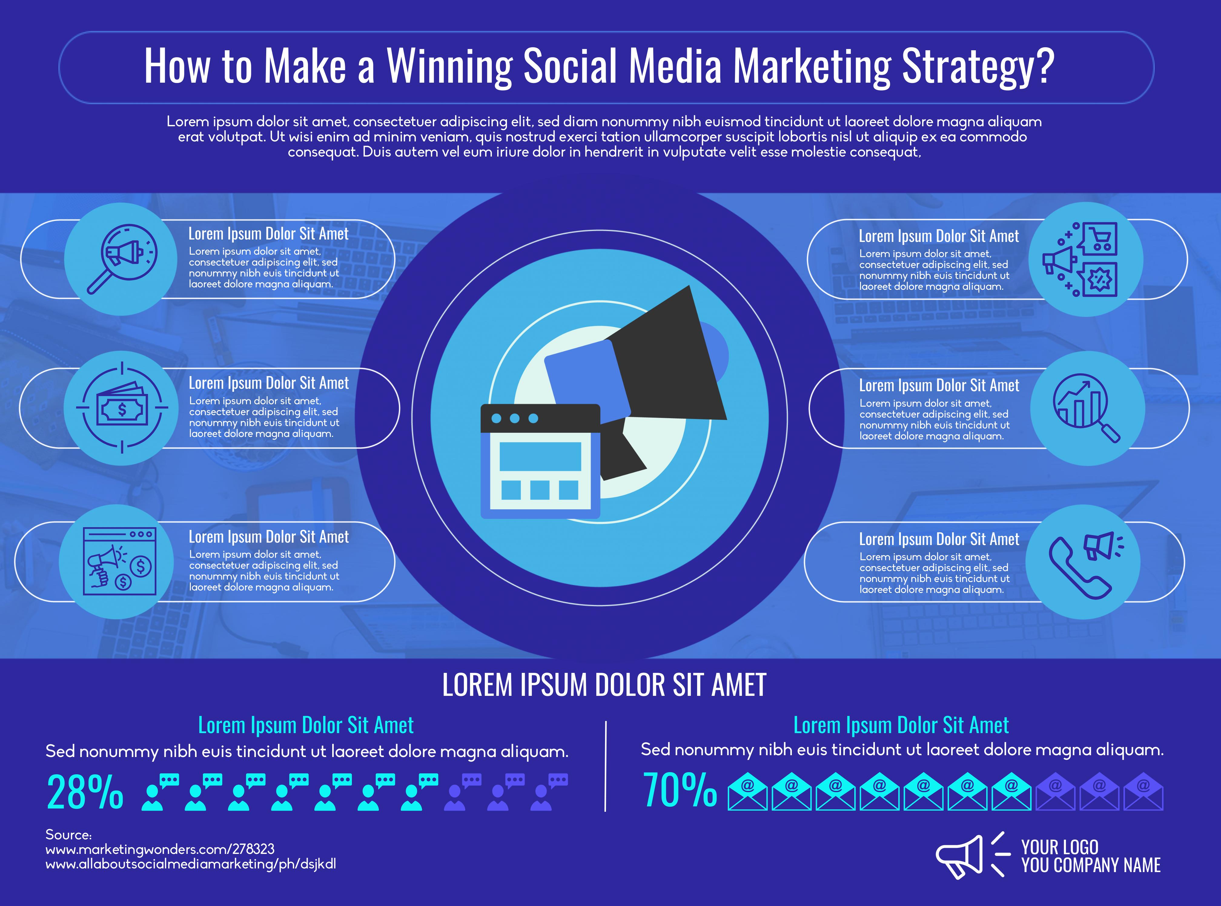 Horizontal social media infographic template