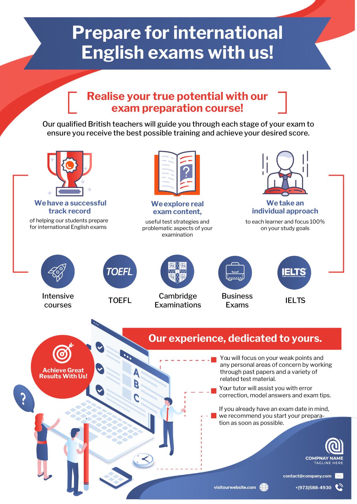Test preparation company infographic