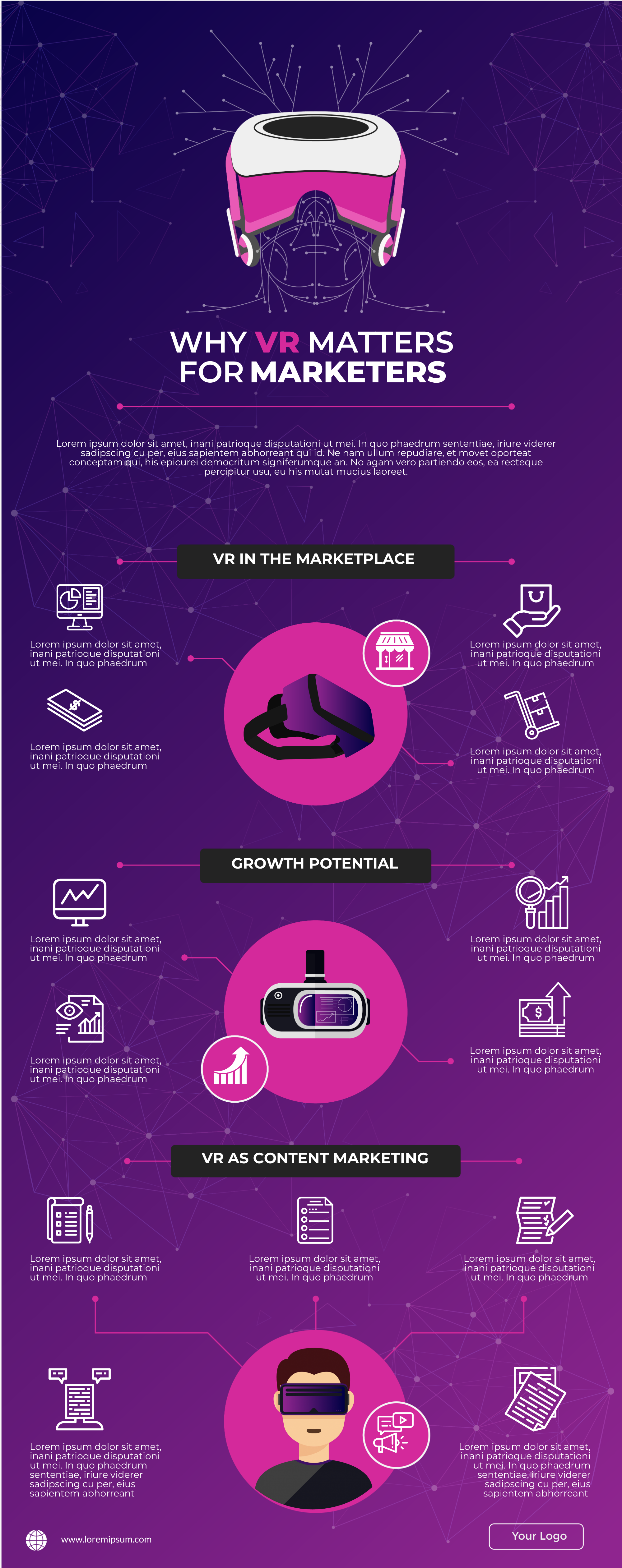 VR for marketing infographic template