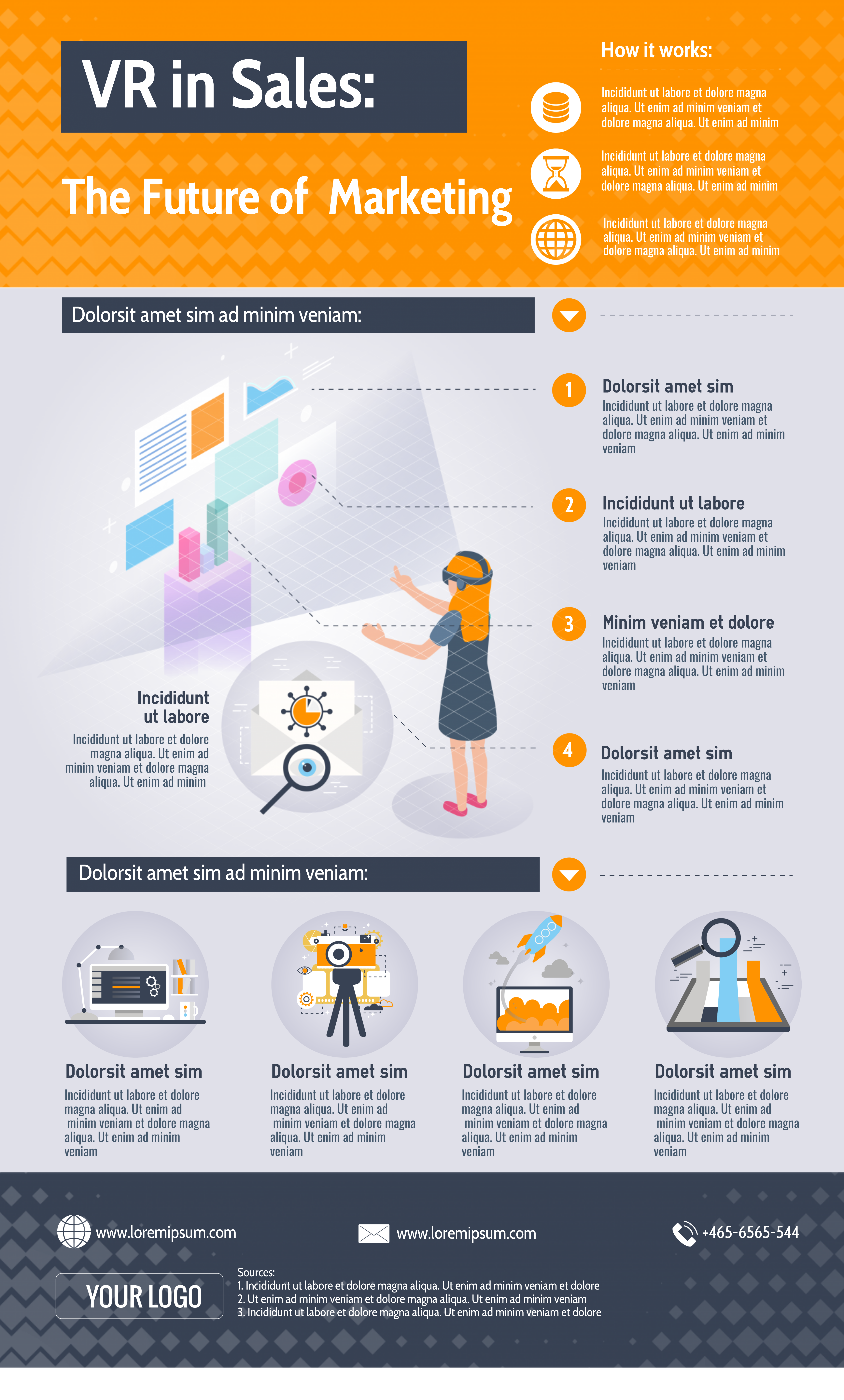 VR in sales infographic template