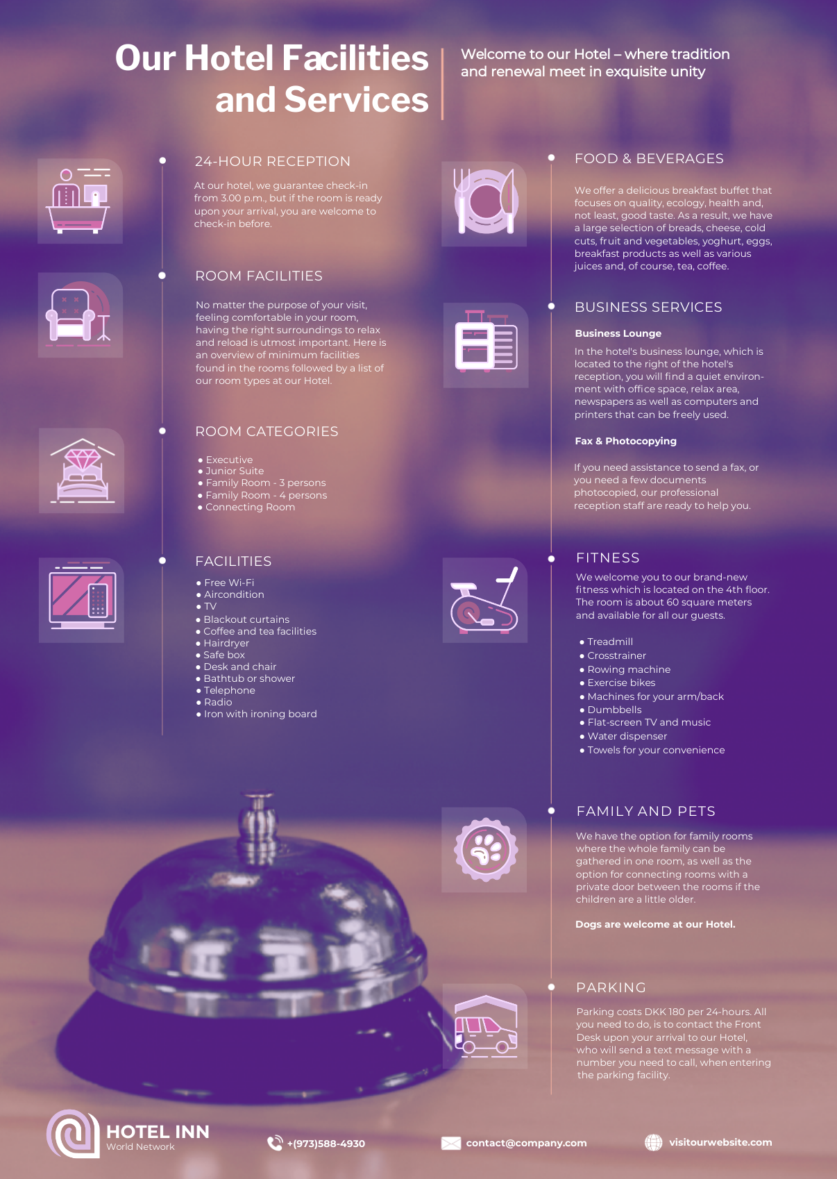 Hotel services infographic template