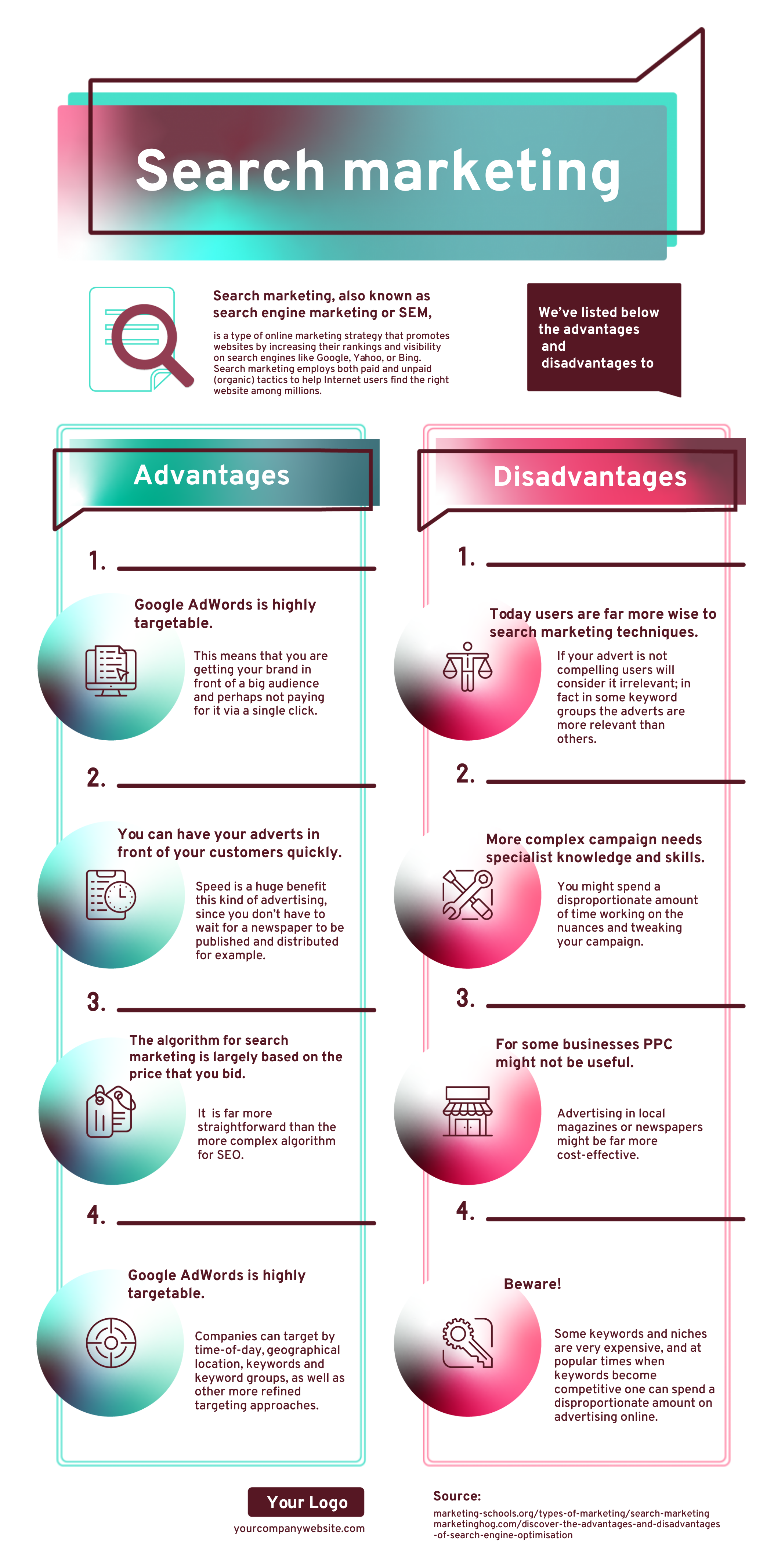Search marketing infographic template