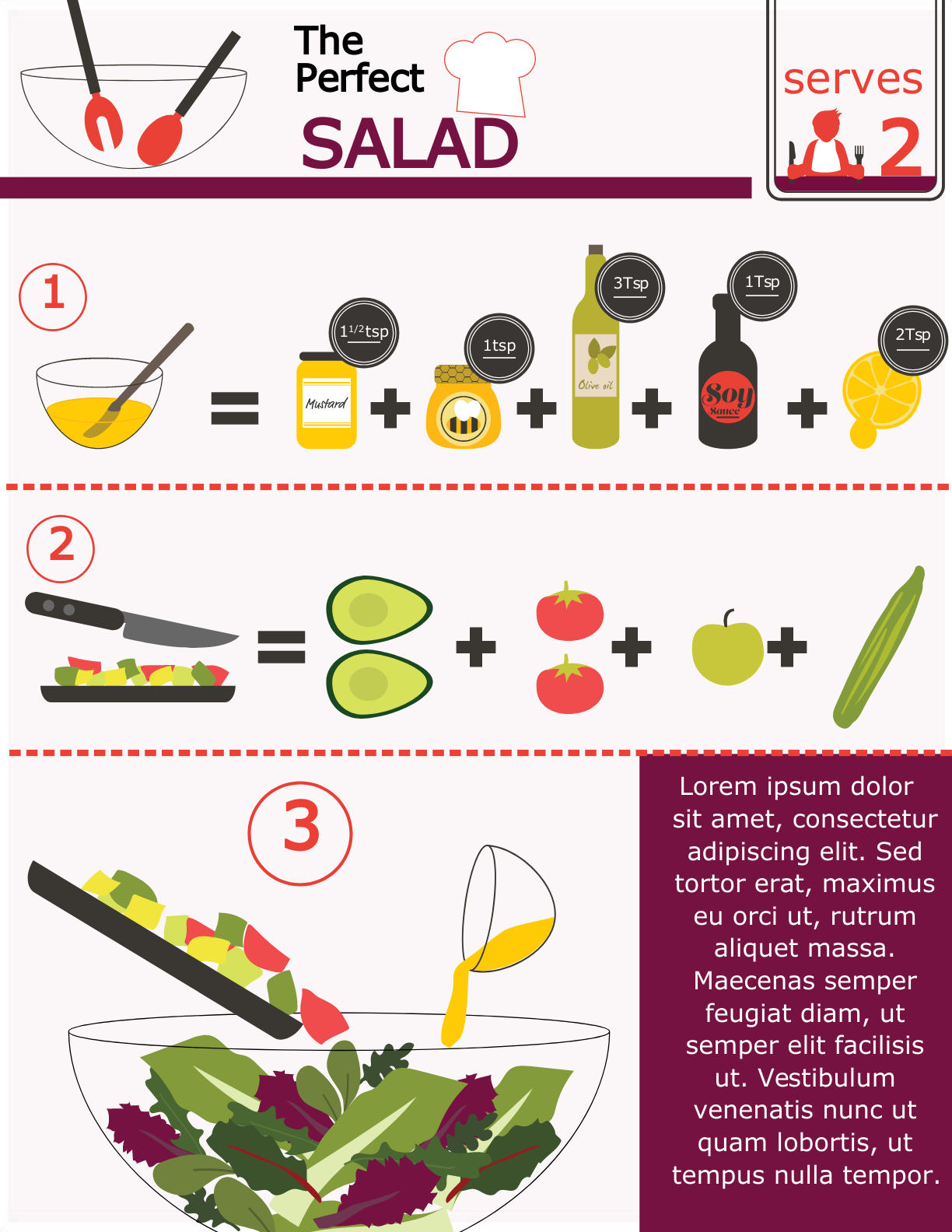 an infographic template for salad recipes.