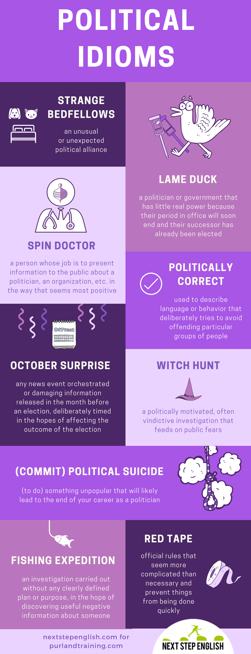 Infographic about political idioms by Purland Training